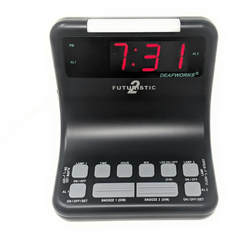 Futuristic2 Flashing Dual Alarm Clock w/2 Lamp Outlets