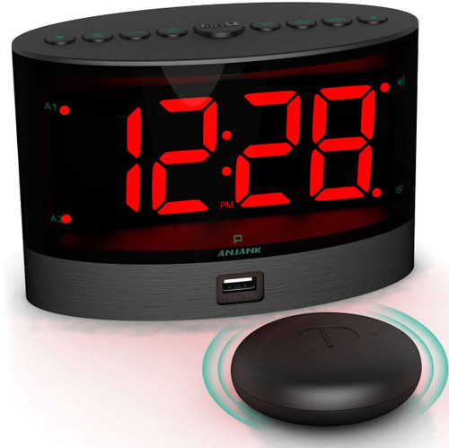 Extra Loud Dual Alarm Clock with Wireless Bed Shaker