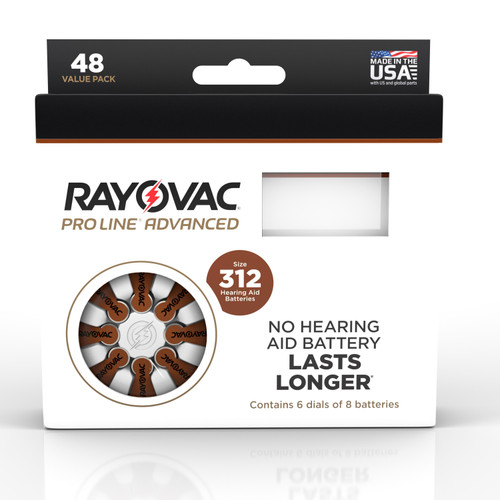 Rayovac Proline Advanced Mercury Free Hearing Aid Batteries 48/Box Size 312