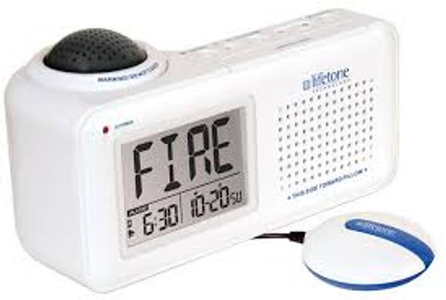 Lifetone HLAC151 Bedside Fire Alarm / Clock with Bed Shaker