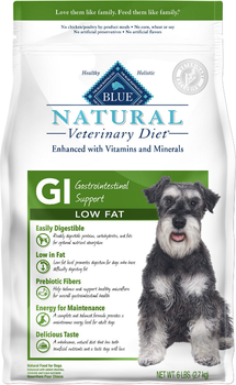 Blue Natural Veterinary Diet GI Gastrointestinal Support Low Fat Dry Dog Food (6 lb)
