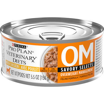 Purina OM Overweight Management Savory Select, Feline Chicken (24/5.5oz Cans)