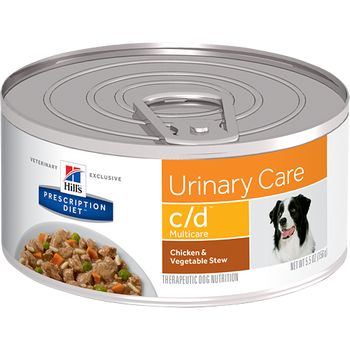 Hills Prescription Diet Urinary Care c/d Chicken & Veg. Wet Dog Food (24/5.5 oz Cans)