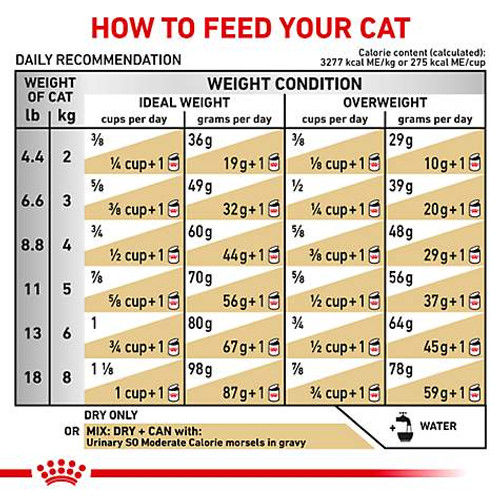 Royal Canin Veterinary Diet Urinary SO Dry Cat Food (7.7 lb) Feeding Guide
