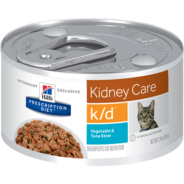 Kidney Care k/d Vegetable & Tuna Stew Wet Cat Food (24/2.9 oz Cans)