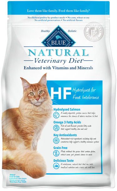 Blue Natural Veterinary Diet by Blue Buffalo HF Hydrolyzed for Food Intolerance Dry Cat Food (7 lb)
