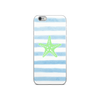 Starfish on Pale Blue Stripes iPhone Case