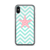 Pink Starfish on Green Chevron iPhone Case