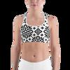 Ornate Black Pattern Sports bra