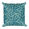 Tan Leaves on Teal Square Pillow