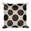Black Polka Dots on Tan Square Pillow