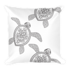 Henna Turtles Black and White Square Pillow