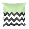 Black Chevron Half Green Square Pillow