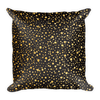 Gold Dots on Black Square Pillow