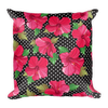 Pink Hibiscus on Black Square Pillow