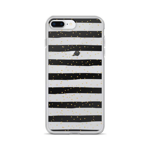 Gold Dots on Black Stripes iPhone Case