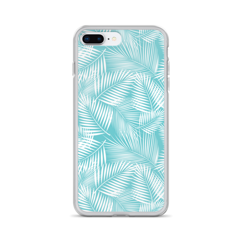 White Palms on Blue iPhone Case