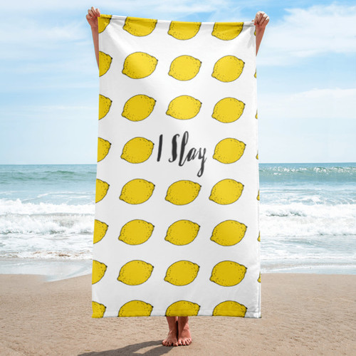 I Slay Lemonade Beach Towel
