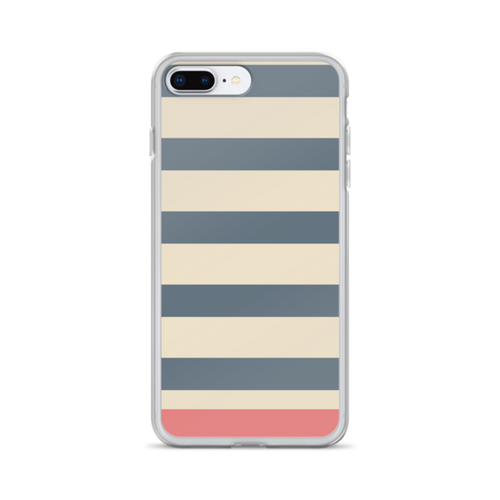 Grey Tan and Salmon Stripe iPhone Case