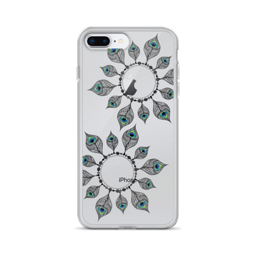 Peacock Feather Circles iPhone Case