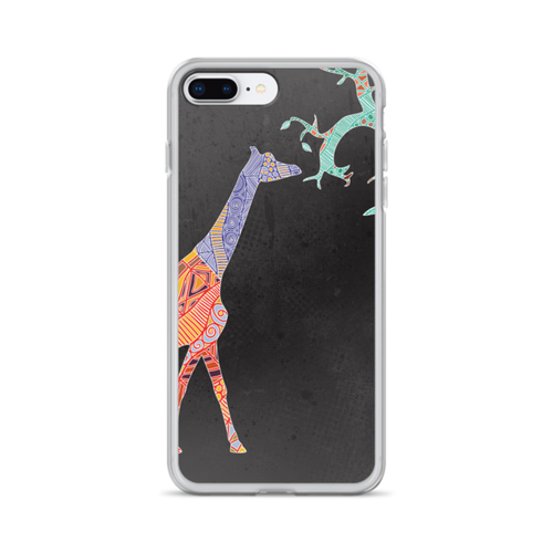 Giraffe Art on Black Background iPhone Case
