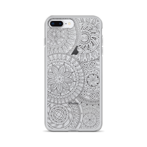 Circle Doodles Black Transparent iPhone Case