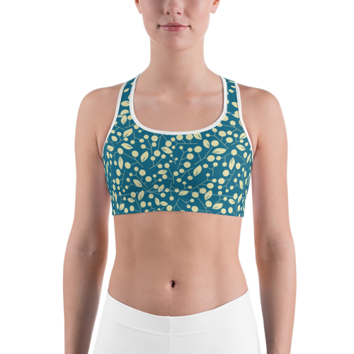 Tan Leaves on Teal Sports bra