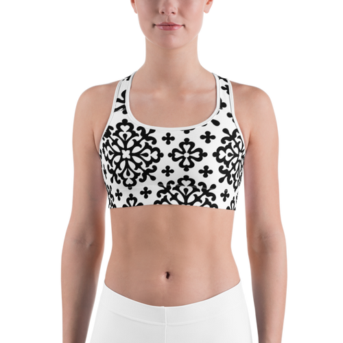 Ornate Black Pattern Sports bra