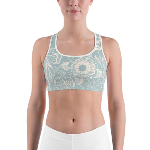 Blue & Cream Floral Sports bra