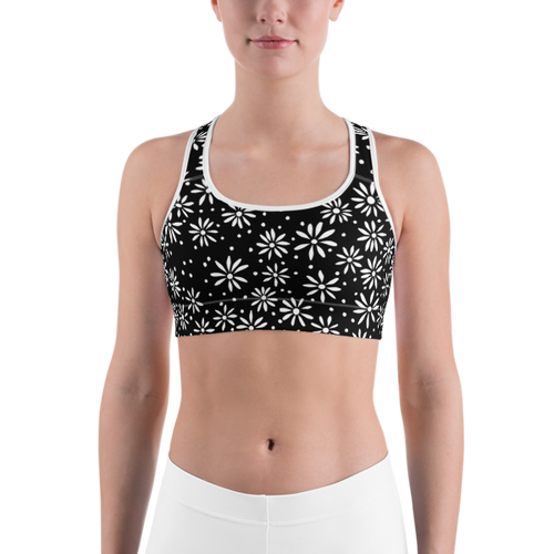 Black & White Daisy Pattern Sports bra