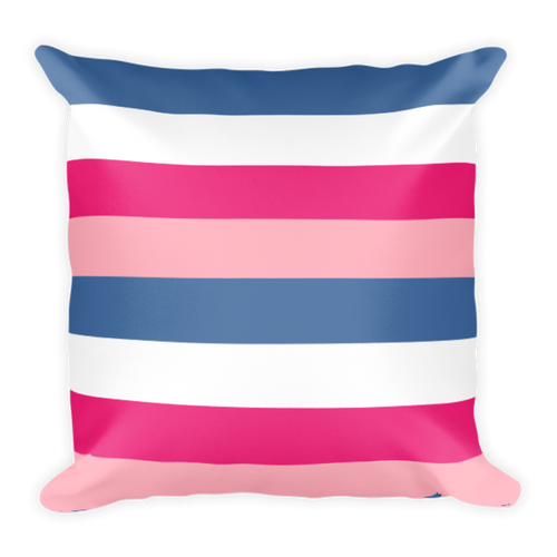 Pink and Blue Stripes Square Pillow
