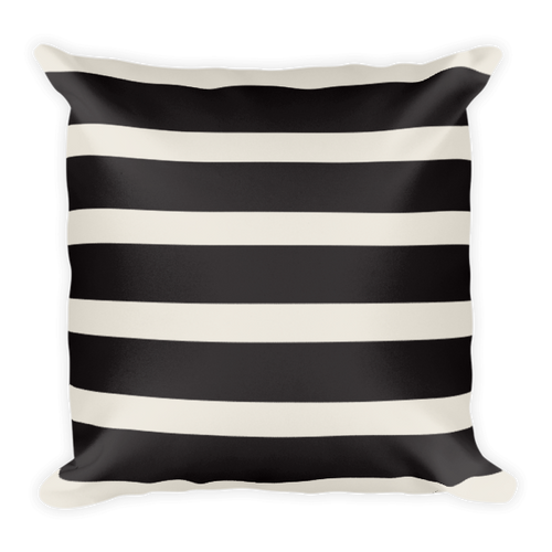 Black and Tan Stripe Square Pillow