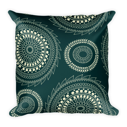 Tan Circle Design on Black Square Pillow