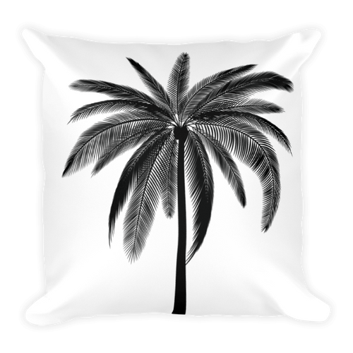 Black Palm Square Pillow