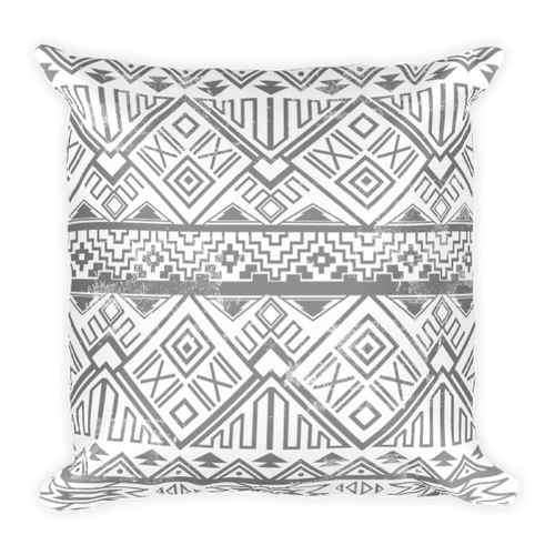 Faded Black Aztec Square Pillow