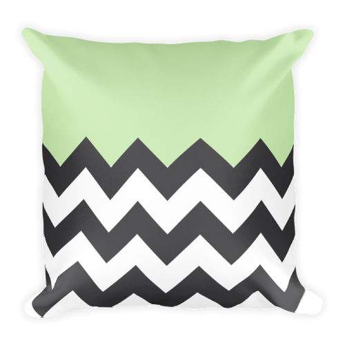 Black Chevron Half Green Square Pillow