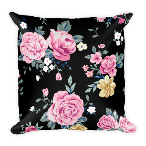 Black & Pink Rose Floral Square Pillow