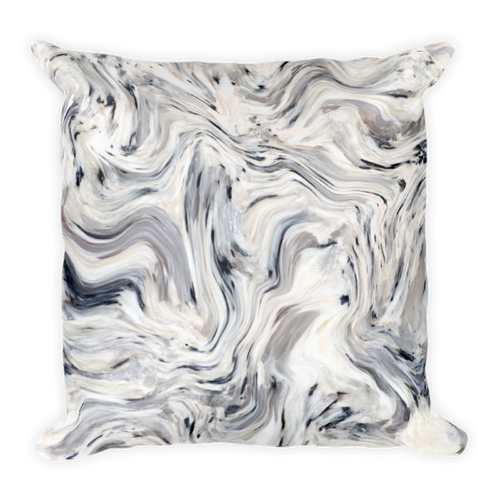 Grey Wave Marble Square Pillow