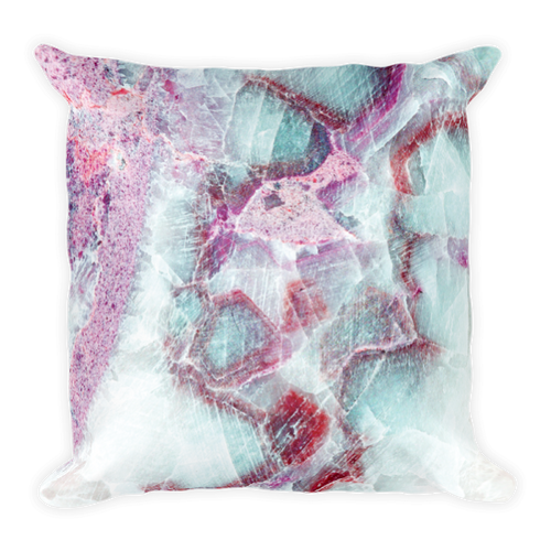 Blue Pink Marble Square Pillow