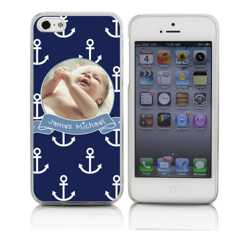 Baby Boy Custom Phone Case on Navy Anchor Pattern