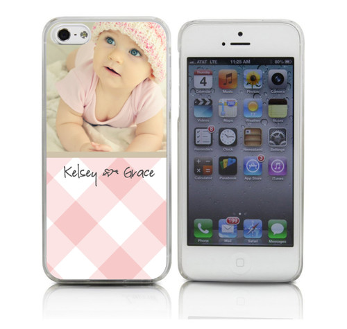 Baby Girl Custom Phone Case on Pink Gingham