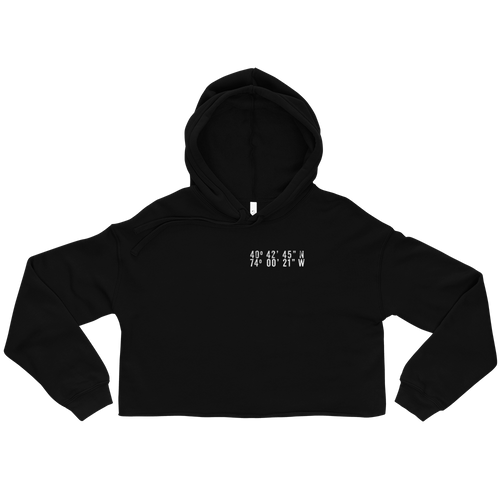New York City Coordinates Crop Hoodie Black