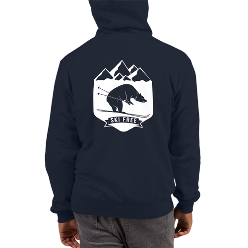 Ski Free Bear Champion Hoodie in Navy