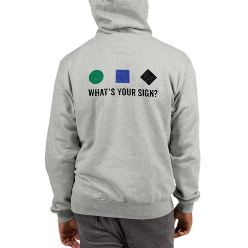 What's Your Sign Champion Hoodie in Steel Grey