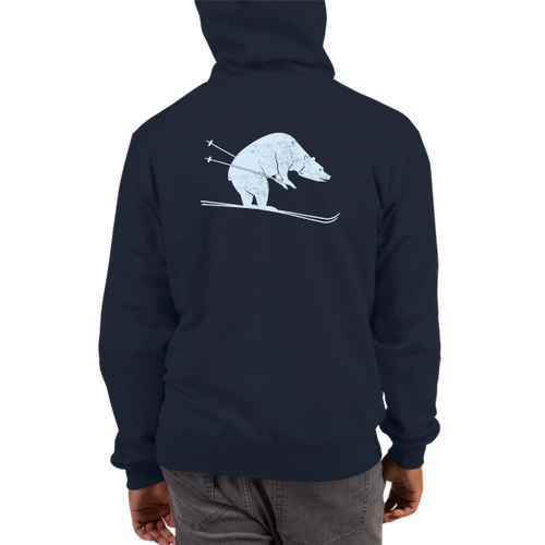 Skiing Bear Champion Hoodie in Navy
