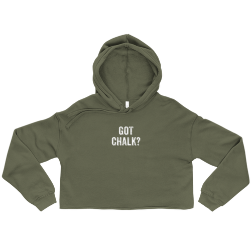 Got Chalk? Crop Hoodie in Military Green