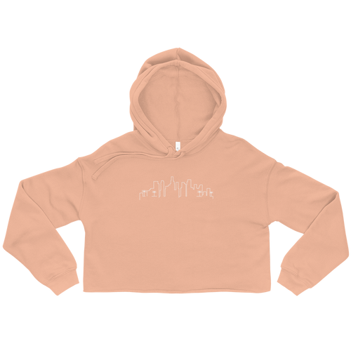 Miami Skyline Cropped Hoodie in Peach