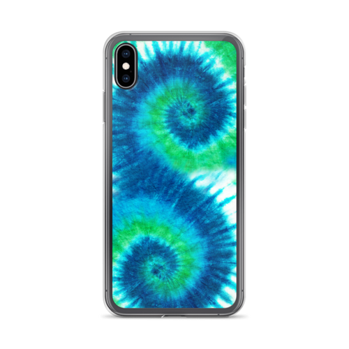 Blue into Green Tie Dye iPhone Case