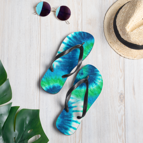 Blue and Green Tie Dye Flip Flops
