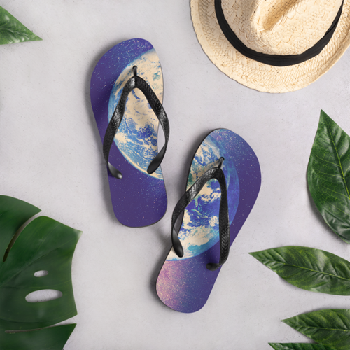Galaxy and Earth Flip Flops